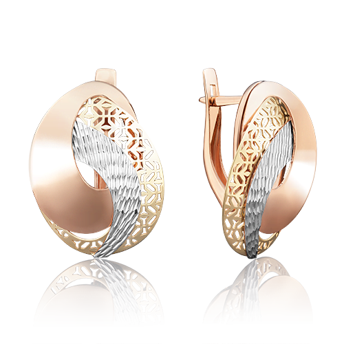 Серьги с английским замком из комбинированного золота 02-3811-00-000-1140-48