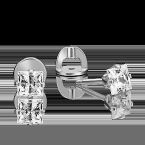 Серьги-пусеты из белого золота с фианитом огр.SW 02-4549-00-501-1120-38