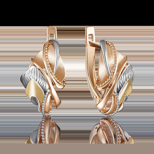 Серьги с английским замком из комбинированного золота 02-4066-00-000-1140-48