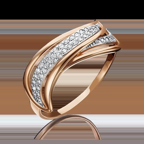 Кольцо из красного золота фианитом 01-4046-00-401-1110-24