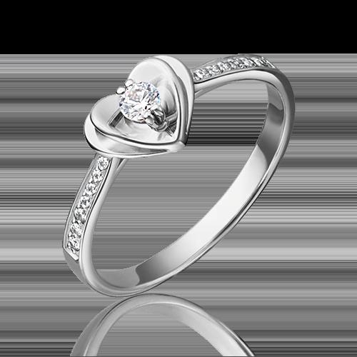 Помолвочное кольцо из белого золота фианитом огр.SW 01-4745-00-501-1120-38