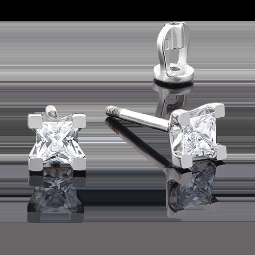 Серьги-пусеты из белого золота с бриллиантом 02-3821-00-101-1120-30