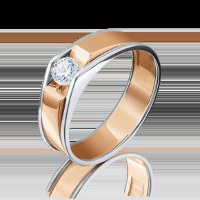 Помолвочное кольцо из комбинированного золота с бриллиантом 01-5075-00-101-1111-30
