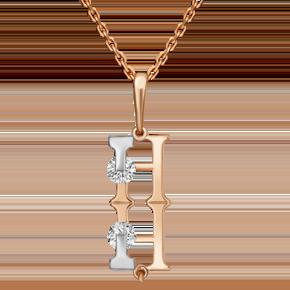 Подвеска из комбинированного золота с фианитом огр.SW 03-3119-Н-501-1111-38
