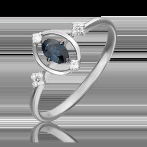 Кольцо из белого золота с сапфиром и бриллиантом 01-5520-00-105-1120-30