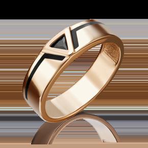 Кольцо из красного золота с фианитом и эмалью 01-4653-00-402-1110-25