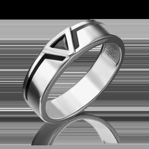 Кольцо из белого золота с фианитом и эмалью 01-4653-00-402-1120-25