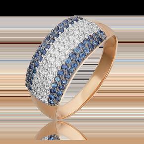 Кольцо из красного золота с бриллиантом и сапфиром 01-1489-00-105-1110-30