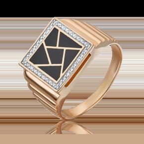 Кольцо из красного золота с бриллиантом и эмалью 01-1774-00-101-1110-30