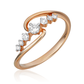 Кольцо из красного золота с бриллиантом 01-5521-00-101-1110-30