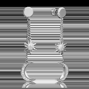 Серьги-пусеты из белого золота с фианитом 02-4460-00-401-1120-42