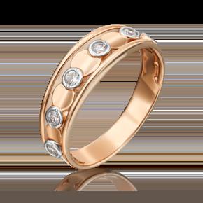 Кольцо из красного золота с фианитом 01-5366-00-401-1110-03