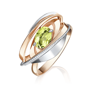Кольцо из комбинированного золота с хризолитом 01-5080-00-205-1111-46
