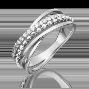 Кольцо из белого золота с фианитом 01-5327-00-401-1120-03
