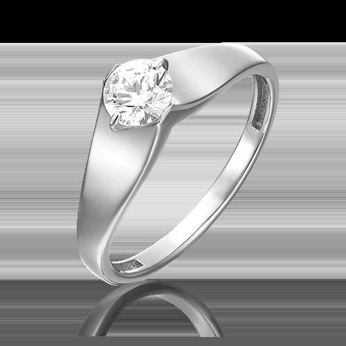 Помолвочное кольцо из белого золота фианитом огр.SW 01-5369-00-501-1120-38