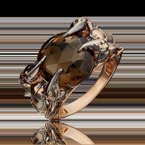 Кольцо из красного золота с кварцем дымчатым 01-5406-00-202-1110-46