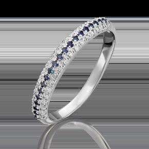 Кольцо из белого золота с бриллиантом и сапфиром 01-1479-00-105-1120-30