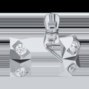 Серьги-пусеты из белого золота с фианитом 02-4014-00-401-1120-03