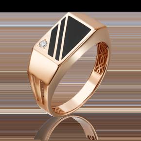 Печатка из красного золота с фианитом и эмалью 01-4452-00-401-1110-25
