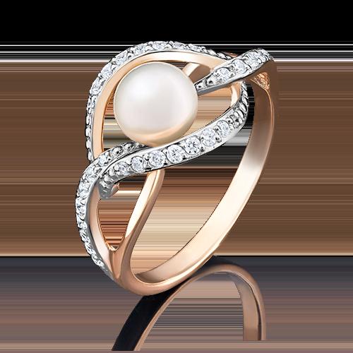 Кольцо из красного золота с жемчугом культивированным и фианитом 01-4453-00-302-1110-24