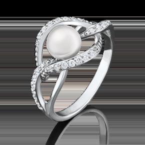 Кольцо из белого золота с жемчугом культивированным и фианитом 01-4453-00-302-1120-24