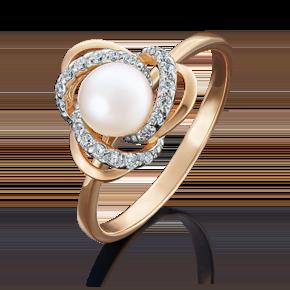 Кольцо из красного золота с жемчугом культивированным и фианитом 01-4457-00-302-1110-23