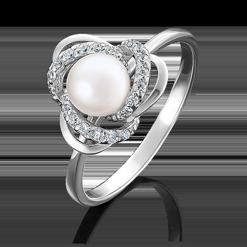Кольцо из белого золота с жемчугом культивированным и фианитом 01-4457-00-302-1120-23