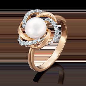 Кольцо из красного золота с жемчугом культивированным и фианитом 01-4458-00-302-1110-23