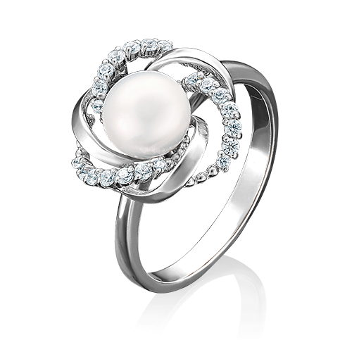Кольцо из белого золота с жемчугом культивированным и фианитом 01-4458-00-302-1120-23