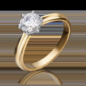 Помолвочное кольцо из лимонного золота с фианитом 01-3090-00-401-1130-03