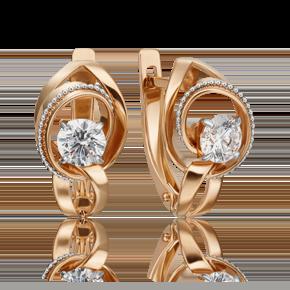 Серьги с английским замком из комбинированного золота с фианитом огр.SW 02-4591-00-501-1111-38