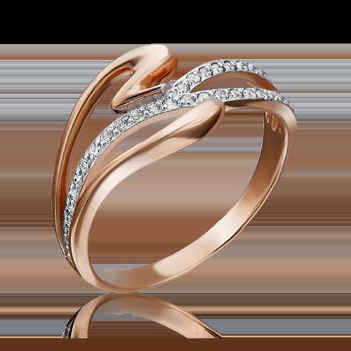 Кольцо из красного золота фианитом 01-2782-00-401-1110-32