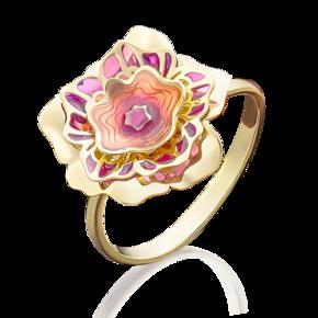 Кольцо из лимонного золота с эмалью 01-5001-00-000-1130-48