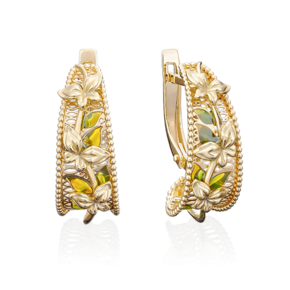 Серьги с английским замком из лимонного золота с эмалью 02-3895-00-000-1130-48