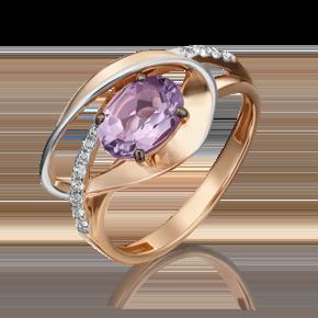 Кольцо из красного золота с аметистом и топазом white 01-5330-00-225-1110-57
