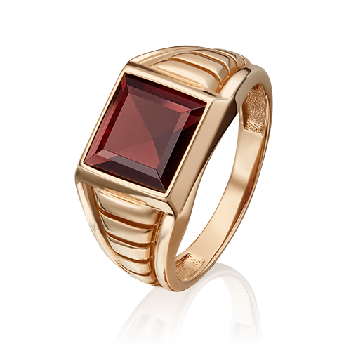 Печатка из красного золота с гранатом 01-5385-00-204-1110-46