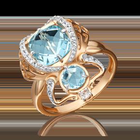 Кольцо из красного золота с топазом и топазом white 01-5409-00-201-1110-57