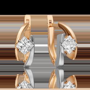 Серьги с английским замком из комбинированного золота с фианитом огр.SW 02-4543-00-501-1111-38