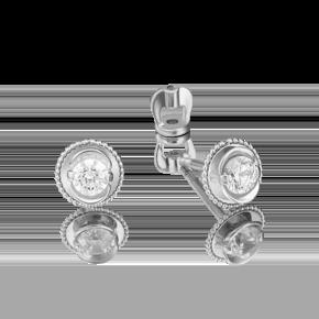 Серьги-пусеты из белого золота с бриллиантом 02-4126-00-101-1120-30