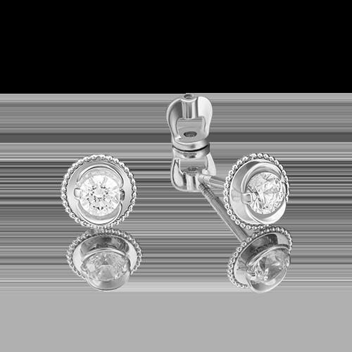 Серьги-пусеты из белого золота бриллиантом 02-4126-00-101-1120-30