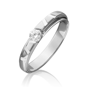 Помолвочное кольцо из белого золота с фианитом огр.SW 01-5422-00-501-1120-38