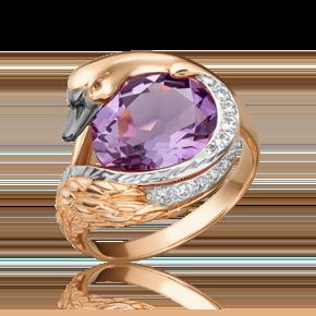 Кольцо из красного золота с аметистом и топазом white 01-5464-00-225-1110-46