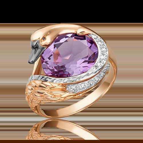 Кольцо из красного золота с аметистом и топазом 01-5464-00-225-1110-46