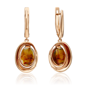 Серьги с английским замком из красного золота с янтарём 02-4672-00-271-1110-46