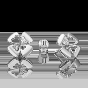 Серьги-пусеты из белого золота с бриллиантом 02-4821-00-101-1120