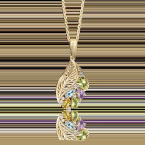 Подвеска из лимонного золота с хризолитом, цитрином, топазом, аметистом и фианитом 03-2559-00-227-1130-46