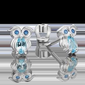 Серьги-пусеты из серебра с топазом и эмалью 02-4648-00-201-0200-68