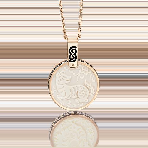 Подвеска из красного золота с бивнем мамонта и эмалью 03-2452-11-292-1110-46