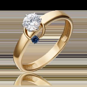 Помолвочное кольцо из лимонного золота с фианитом огр.SW и шпинелью синт.огр.SW 01-5211-00-504-1121-38