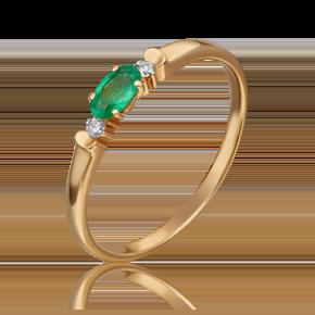 Кольцо из красного золота с изумрудом и бриллиантом 01-0777-00-106-1110-30